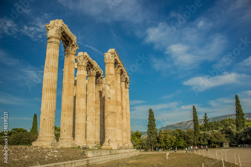 antique ancient Greek architecture object marble columns temple building landmark concept photography, tourism concept