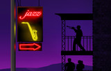 A trump player practices on his patio while a neon sign directs music lovers to a jazz club.