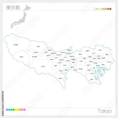 fototapeta na ścianę 東京都の地図(市町村・区分け)