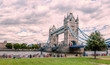 London in summer at Tower bridge with motion blur effect of peoples relaxing