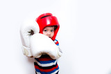 Asian cute boy with white Boxing Gloves and red Head guard on white background - 248397785