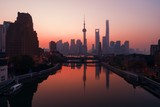 Shanghai city sunrise aerial view with Pudong business district