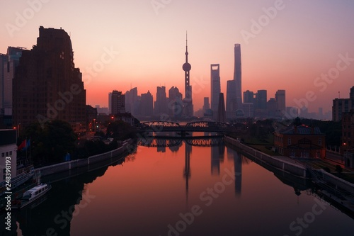 fototapeta na ścianę Shanghai city sunrise aerial view with Pudong business district