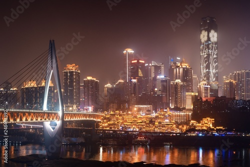 Chongqing bridge night - 248402392