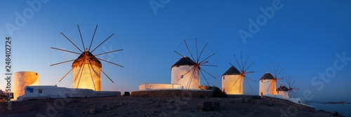 Leinwanddruck Bild Mykonos windmill night panorama