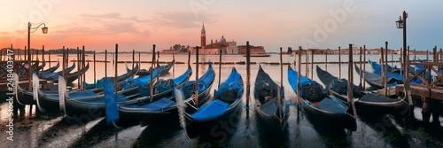 Gondola and San Giorgio Maggiore island panorama