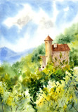 Old castle and forest. Watercolor illustration.