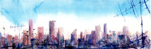 "Постер, картина, фотообои ""Morning sityscape. Watercolor illustration."""
