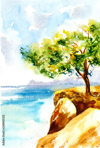 Greece seascape. Watercolor illustration © Inky Water