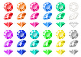 Cartoon-like multicolored round cut diamonds and gemstones, side, front, isometric view