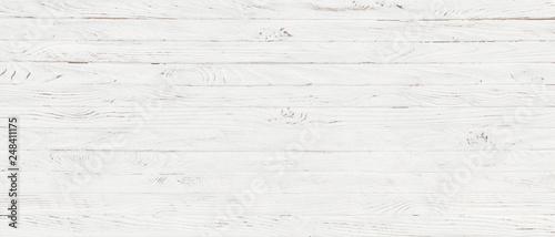 Leinwandbild Motiv white wood texture background, top view wooden plank panel