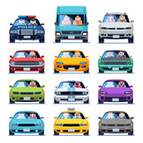 Car front view. Auto automotive people man woman child family urban drivers traffic vehicles driving cars set flat set