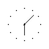 Simple classic round wall clock, icon sign or logo