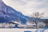 Typical landscape view of the European Alps, snow, hills and wooden buildings