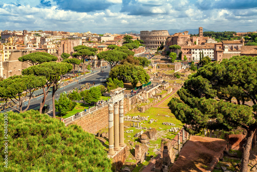Aerial scenic view of Colosseum and Roman Forum in Rome, Italy. Rome architecture and landmark.