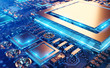 Leinwanddruck Bild - Close-up view of a modern GPU card with circuit 3D rendering