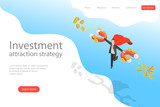 Isometric flat vector landing page template of investment attraction strategy, profit, income, financial freedom. - 248435752