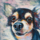 Acrylic paitning of chihuahua dog head on canvas.
