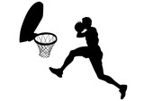Young athletes playing street basketball on a white background