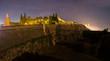 Badajoz Arabic citadel at night, Spain