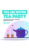Tea/Chai Party Template. Vector illustration of tea pot and tea glass. Chai Kettle.