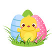 Cute chicken and Easter eggs. Cartoon funny chick for spring design - 248466178