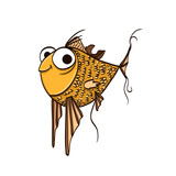 funny cartoon fish with big eyes