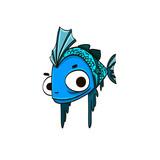 cartoon blue fish with big eyes
