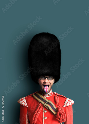 Leinwanddruck Bild Young man in the costume of the Royal guards of Britain