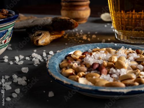beer, dried fish, cracker, crackers, beer foam, drink beer, peanuts, snacks, chips, - 248473717