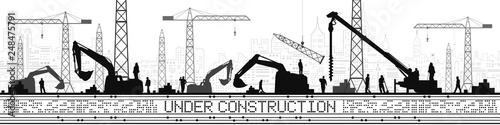 Under Construction illustration. Buildings panorama, industrial landscape, Constructional cranes and excavators, urban scene. People working. Vector lines design art - 248475791