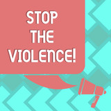Text sign showing Stop The Violence. Conceptual photo program empowers youth with attitudes skills and resources Color Silhouette of Blank Square Speech Bubble and Megaphone photo