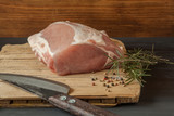 Raw pork meat over wooden background - 248482505