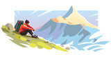 Young man is sitting on a slope mountain. Illustration on the tourism topic
