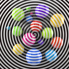 modern art concept with colorful painted balls. 3d illustration.