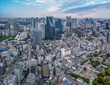 aerial view of financial district in Tokyo