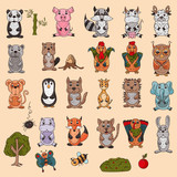 large set of wild and domestic animals colored in the style of childrens scribbles for design and design background is isolated