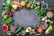 Leinwandbild Motiv Healthy food selection with fruits, vegetables, seeds, super foods, cereals
