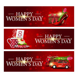 Women's day three red horizontal congratulatory banners with women's Shoe with tulips inside, cup of tea with cupcake and car with Tulip - 248489758