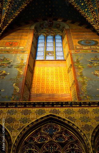 Interior of Mariacki Church in Cracow Krakow Poland