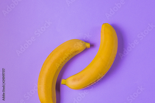 Minimalism style. Fruit pattern with yellow ripe banana fruit over purple background. - 248497517