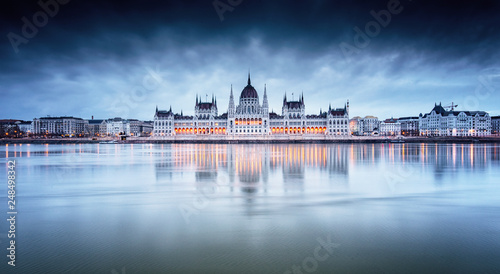 The Hungarian Parliament with river Danube in the morning
