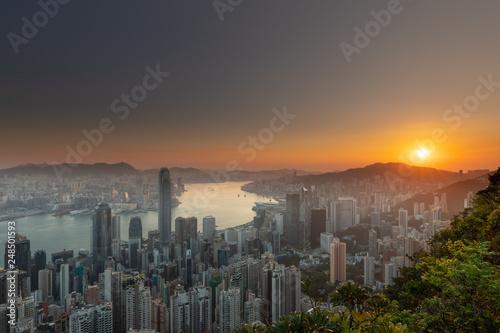 fototapeta na ścianę Hong Kong sunrise from Victoria peak