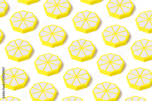Modern paper pattern from lemons on a bright background. - 248501967