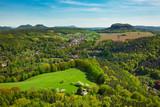 View from Koenigstein over Saxon Switzerland National park, popular travel destination in Germany
