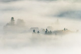 Small mountain village with spruce forest in the morning fog - 248503339