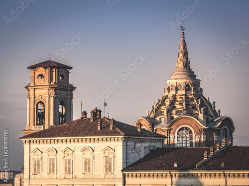 Leinwanddruck Bild Guarini dome and bell tower of the church of San Giovanni Battista