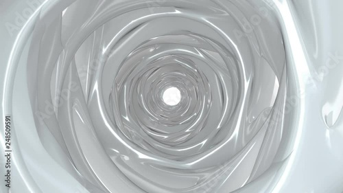 White glossy tunnel. Computer generated abstract motion background. Seamless loop 3D render animation