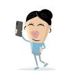 funny asian cartoon girl taking a selfie - 248510301
