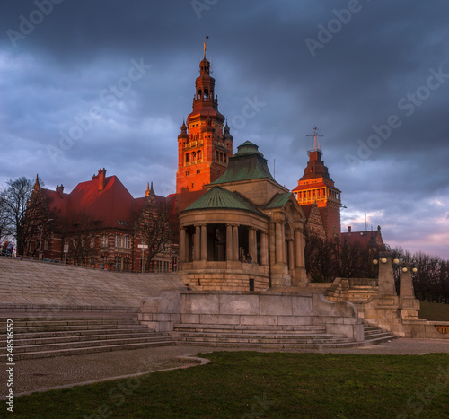 The historic and representative part of Szczecin in Poland against the evening sky